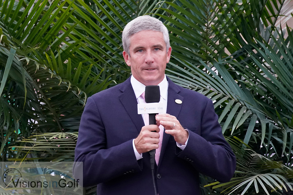 Jay Monahan PGATour commissioner<br /> At the trophy presentation<br /> On the final day<br /> THE PLAYERS Championship 2018<br /> <br /> Golf Pictures by Mark Newcombe/visionsingolf.com