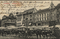 Zagreb : Jelačićev trg. <br /> <br /> ImpresumZagreb : Ferd. Ivančič Antikvarna knjižara, [1914].<br /> Materijalni opis1 razglednica : tisak ; 8,9 x 14,2 cm.<br /> NakladnikFerd. Ivančič Antikvarna knjižara<br /> Vrstavizualna građa • razglednice<br /> ZbirkaZbirka razglednica • Grafička zbirka NSK<br /> ProjektPozdrav iz Hrvatske • Pozdrav iz Zagreba<br /> Formatimage/jpeg<br /> PredmetZagreb –– Trg bana Josipa Jelačića<br /> SignaturaRZG-JEL-14<br /> Obuhvat(vremenski)20. stoljeće<br /> NapomenaRazglednica je putovala 1914. godine.<br /> PravaJavno dobro<br /> Identifikatori000952422<br /> NBN.HRNBN: urn:nbn:hr:238:176179 <br /> <br /> Izvor: Digitalne zbirke Nacionalne i sveučilišne knjižnice u Zagrebu