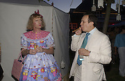 Grayson Perry and Detmar Blow, The  Summer party, hosted by the Serpentine Gallery and Robert Cavalli, 16 June 2004. 16 June 2004. SUPPLIED FOR ONE-TIME USE ONLY> DO NOT ARCHIVE. © Copyright Photograph by Dafydd Jones 66 Stockwell Park Rd. London SW9 0DA Tel 020 7733 0108 www.dafjones.com