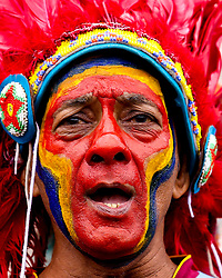 A West Indies fan in a headdress and face paint - Mandatory by-line: Robbie Stephenson/JMP - 14/06/2019 - FOOTBALL - Hampshire Bowl - Southampton, England - England v West Indies - ICC Cricket World Cup 2019 group