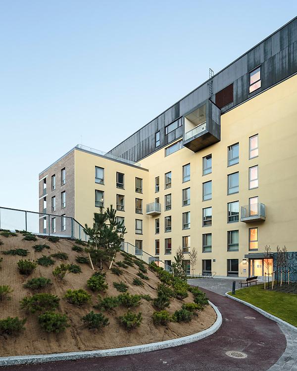 Helsingin Studio apartments in Helsinki, Finland designed by Lahdelma & Mahlamäki Architects.