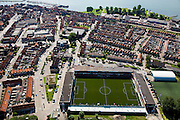 Nederland, Noord-Holland, Volendam, 14-07-2008; Stadion FC Volendam; Kras Stadion aan de Sportlaan; betaald voetbal; training, coachm trainer, kunstgras, grasmat, dorpsleven, dorp. .luchtfoto (toeslag); aerial photo (additional fee required); .foto Siebe Swart / photo Siebe Swart