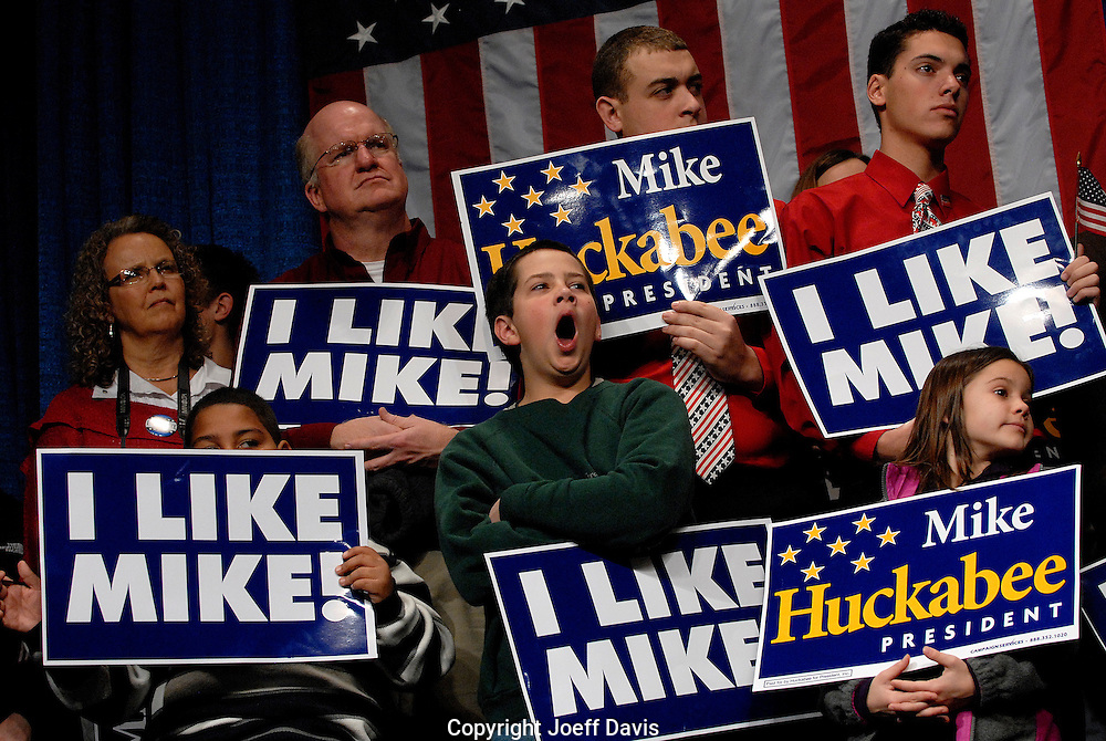"A boy yawns onstage at the ""Mike Huckabee For President South Carolina Primary Results Night Watch Party""  January 19, 2008 at the Convention Center in Columbia, SC."