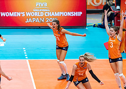 19-10-2018 JPN: Semi Final World Championship Volleyball Women day 18, Yokohama<br /> Serbia - Netherlands / Anne Buijs #11 of Netherlands, Yvon Belien #3 of Netherlands