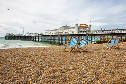 © Licensed to London News Pictures. 16/09/2016. Brighton, UK. Deckchairs stand unused on the back in Brighton and Hove as colder weather is hitting the seaside resort. Photo credit: Hugo Michiels/LNP