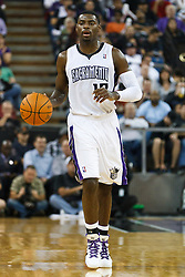 November 1, 2010; Sacramento, CA, USA;  Sacramento Kings point guard Tyreke Evans (13) dribbles up court against the Toronto Raptors during the second quarter at ARCO Arena. The Kings defeated the Raptors 111-108.