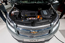 Detail of electric motor in Chevrolet Volt battery powered car at the Geneva Motor Show 2011 Switzerland
