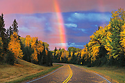 Rainbow after storm<br /> Prince Albert National Park<br /> Saskatchewan<br /> Canada