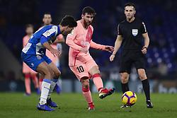 December 8, 2018 - Barcelona, Catalonia, Spain - December 8, 2018 - Cornella- El Prat, Barcelona, Spain - LaLiga Santander- RCD Espanyol v FC Barcelona; Lionel Messi of FC Barcelona pass the ball. (Credit Image: © Marc Dominguez/ZUMA Wire)
