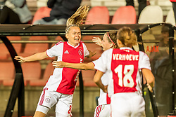 Ilna Reetta Salmi of Ajax women  celebrate her goal during the UEFA Women's Champions League match between Ajax Amsterdam and Sparta Praag at Sportpark De Toekomst on September 12, 2018 in Amsterdam, The Netherlands