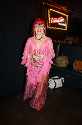 ZANDRA RHODES at a party to celebrate Zandra Rhodes's return to London Fashion week and the launch of a limited edition of M.A.C makeup at Silver, 17 Hanover Square, London W1 on 20th September 2006.<br />