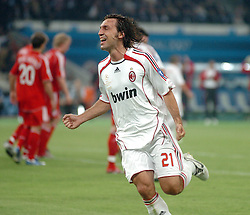 Athens, Greece - Wednesday, May 23, 2007: AC Milan's Andrea Pirlo celebrates the opening goal scored by Kaka, after he taken free kick, during the UEFA Champions League Final against Liverpool at the OACA Spyro Louis Olympic Stadium. (Pic by Jason Roberts/Propaganda)