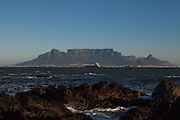 A view of Table Mountain and Cape Town from Blouberg Beach.
