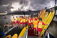 THe water safety crew prepare for the swim start. Ironman Cairns and Ironman Cairns 70.3 Race. 2013 Ironman Cairns Triathlon Festival. Cairns, Queensland, Australia. 09/06/2013. Photo By Lucas Wroe