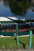 """Maidenhead, United Kingdom. Old Maidenhead Rowing Club, Wooden Oar/Blade, used as a Hand Rail.   """"Thames Punting Club Regatta"""", Bray Reach.<br /> 09:25:07 Sunday  06/08/2017<br /> <br /> [Mandatory Credit. Peter SPURRIER Intersport Images}.<br /> <br /> LEICA M (Typ 262) mm  f1.7   1/4000 /sec    100 ISO River Thames, .......... Summer, Sport, Sunny, Bright, Blue Skies, Skilful,"""