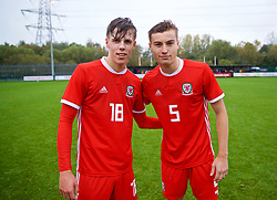 NEWPORT, WALES - Monday, October 14, 2019: Wales' Everton players Rhys Hughes (L) and Ryan Astley after an Under-19's International Friendly match between Wales and Austria at Dragon Park. Wales won 2-0. (Pic by David Rawcliffe/Propaganda)