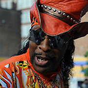 Along the Midway at MidPoint Music Festival, 2011 - Thursday, Sept. 22. Bootsy Collins prepares to play.
