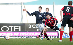 Falkirk's Jordan White and Nicky Clark..Falkirk 3 v 0 Queen of the South, 25/2/2012..© Michael Schofield..Falkirk 3 v 0 Queen of the South, 25/2/2012..© Michael Schofield.