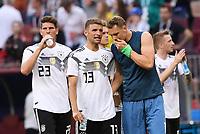 FUSSBALL WM 2018  Vorrunde Gruppe F  17.06.2018 Deutschland - Mexiko Enttaeuschung Deutschland; Torwart Manuel Neuer, Thomas Mueller und Mario Gomez (v.re.)