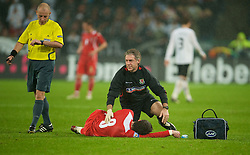 MONCHENGLADBACH, GERMANY - Wednesday, October 15, 2008: Wales' physiotherapist Mel Pejic and Gareth Bale during the 2010 FIFA World Cup South Africa Qualifying Group 4 match at the Borussia-Park Stadium. (Photo by David Rawcliffe/Propaganda)