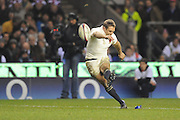 Jonny Wilkinson (England) kicks the conversion after Danny Care's try during the RBS 6 Nations Championship match between England and Wales at Twickenham Stadium on February 6, 2010 in London, England.