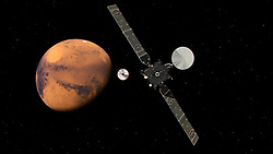 The ESA ExoMars 2016 probe (pictured in this artist's impression) lifted off on a Proton-M rocket from Baikonur, Kazakhstan at 09:31 GMT on 14 March 2016. This arstist's impression depicts the ESA ExoMars Trace Gas Orbiter at Mars as it releases it's ground probe. It will search for evidence of methane and other atmospheric gases that could be signatures of active biological or geological processes on Mars. TGO will also serve as a communications relay for the rover and surface science platform that will be launched in 2018. EXPA Pictures © 2016, PhotoCredit: EXPA/ Photoshot/ Atlas Photo Archive/ESA<br /> <br /> *****ATTENTION - for AUT, SLO, CRO, SRB, BIH, MAZ, SUI only*****