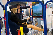 Hannover Messe 2005, the biggest annual industrial fair in the World..Flight simulator.