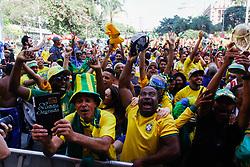 July 2, 2018 - SãO Paulo, Brazil - SÃO PAULO, SP - 02.07.2018: ARENA EM SP TRANSMITE JOGO DO BRASIL - Fans celebrate the Brazilian team's goal ht the Arena setin the Anhangabaú Valley, in the central reg region of São Paulo, where the game is played for the 2018 World Cup, Brazil-Mexico, on Monday. 02) (Credit Image: © Aloisio Mauricio/Fotoarena via ZUMA Press)
