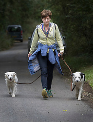 © Licensed to London News Pictures. 06/10/2016. Dorking, UK.  Diane James walks her dogs near her home. Diane James resigned as UKIP party leader yesterday after 18 days in the post. Former leader Nigel Farage has returned as interim leader. Photo credit: Peter Macdiarmid/LNP