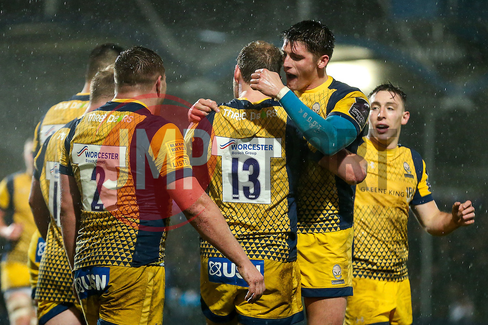 Max Stelling of Worcester Warriors celebrates with Ben Howard after scoring a try - Rogan Thomson/JMP - 10/12/2016 - RUGBY UNION - Sixways Stadium - Worcester, England - Worcester Warriors v Newport Gwent Dragons - European Rugby Challenge Cup.