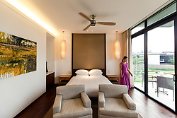 Staff checks a room in the Hyatt Regency Danang, Vietnam, Southeast Asia