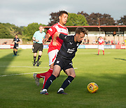 Dundee&rsquo;s Jack Lambert holds off the challenge of Brechin's trialist central defender - Brechin City v Dundee pre-season friendly at Glebe Park, Brechin, <br /> <br /> <br />  - &copy; David Young - www.davidyoungphoto.co.uk - email: davidyoungphoto@gmail.com