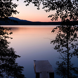 The boat dock on Katahdin Lake in Maine's Baxter State Park.  Katahdin Lake Widlerness Camps.  Dusk.