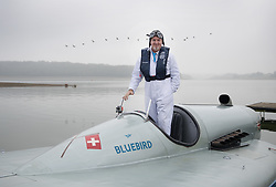 © Licensed to London News Pictures. 26/09/2017. Bewl Water, UK. Karl Foulkes Halbard stands in the fully restored Blue Bird K3 on Bewl Water ahead of a test run. Built in 1937 for Sir Malcolm Campbell, the K3 achieved three world water speed records in 1937-8 attaining a speed of 130.91mph. Blue Bird K3 has undergone an extensive restoration and is part of the Foulkes Halbard Collection at Filching Manor Motor Museum near Eastbourne. Photo credit: Peter Macdiarmid/LNP