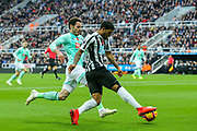 DeAndre Yedlin (#22) of Newcastle United provides the cross to Jose Salomon Rondon (#9) of Newcastle United which leads to Newcastle United's first goal (1-0) during the Premier League match between Newcastle United and Bournemouth at St. James's Park, Newcastle, England on 10 November 2018.