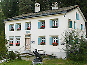 "Philosopher Friedrich Wilhelm Nietzsche stayed in this summer house 1881-1888 in Sils Maria, Upper Engadine, Switzerland, the Alps, Europe. Nietzsche (1844-1900) was a German philosopher, poet, composer and classical philologist. He wrote critical texts on religion, morality, contemporary culture, philosophy and science, displaying a fondness for metaphor, irony and aphorism. His central philosophy of ""life-affirmation"" involves an honest questioning of social doctrines that drain life's expansive energies. Nietzsche still influences existentialism, nihilism, and postmodernism with key ideas such as the death of God, perspectivism, the Übermensch, the eternal recurrence, and the will to power. The Swiss valley of Engadine translates as the ""garden of the En (or Inn) River"" (Engadin in German, Engiadina in Romansh, Engadina in Italian)."