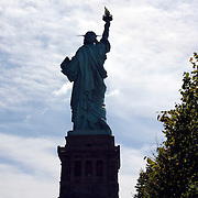 Statue of Liberty from back in partial silhouette