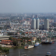 A panoramic view of Ho Chi Minh City showing the Saigon River port area from the viewing level of The Bitexco Financial Tower in Ho Chi Minh City, Vietnam. 3rd March 2012. Photo Tim Clayton