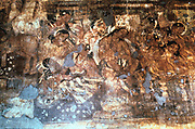 India: Ajanta cave fresco - King Mahjanaka listening to Queen Vivali. 1-5 century AD