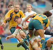 2005 Rugby, Investec Challenge, England vs Australia, Martin Corry, charging run is stopped by Morgan Rurinui low, Lotu Tuqiri [13] and Hugh McMeniman moving in.  RFU Twickenham, ENGLAND:     12.11.2005   © Peter Spurrier/Intersport Images - email images@intersport-images..