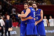 Marco Belinelli, Nicolo Melli, Luigi Datome<br /> Nazionale Italiana Maschile Senior<br /> Eurobasket 2017 - Final Phase - Round of 16<br /> Finlandia Italia Finland Italy<br /> FIP 2017<br /> Istanbul, 09/09/2017<br /> Foto M.Ceretti / Ciamillo - Castoria