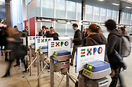 Logo dell'Expo 2015 agli ingressi dei padiglioni di FieraMilano Rho in occasione della Bit 2014 <br /> <br /> Logo Expo 2015 at the entrances of FieraMilano Rho at the Bit 2014