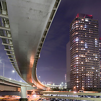 Asia, Tokyo, Japan, Rainbow Bridge at dusk on spring evening