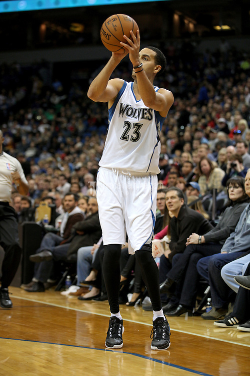Nov 1, 2014; Minneapolis, MN, USA; Minnesota Timberwolves guard Kevin Martin (23) shoots during the third quarter against the Chicago Bulls at Target Center. The Bulls defeated the Timberwolves 106-105. Mandatory Credit: Brace Hemmelgarn-USA TODAY Sports