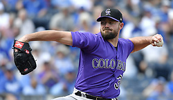 August 24, 2017 - Kansas City, MO, USA - Colorado Rockies relief pitcher Mike Dunn throws in the eighth inning during Thursday's baseball game against the Kansas City Royals at Kauffman Stadium in Kansas City, Mo. (Credit Image: © John Sleezer/TNS via ZUMA Wire)