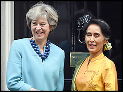 September 13, 2016 - London, United Kingdom - Image ©Licensed to i-Images Picture Agency. 13/09/2016. London, United Kingdom. Theresa May and Aung San Suu Kyi. The Prime Minister Theresa May meets  Aung San Suu Kyi on the steps of No10 Downing Street.  Picture by Andrew Parsons / i-Images (Credit Image: © Andrew Parsons/i-Images via ZUMA Wire)