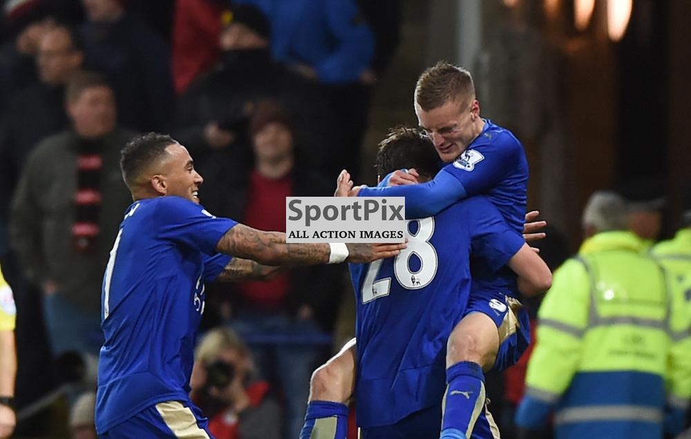 Eleven in a row. Jamie Vardy celebrates his record-breaking goal (c) Simon Kimber | SportPix.org.uk