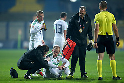 Northern Ireland's Liam Boyce receives medical attention during the Nations League match at The Grbavica Stadium, Sarajevo.