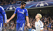 Diego Costa questions Aleksandar Dragovic's actions during the Champions League group stage match between Chelsea and Dynamo Kiev at Stamford Bridge, London, England on 4 November 2015. Photo by Michael Hulf.