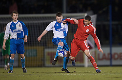 BRISTOL, ENGLAND - Thursday, January 15, 2009: Liverpool's Nathan Eccleston in action against Bristol Rovers' Brian Bowles during the FA Youth Cup match at the Memorial Stadium. (Mandatory credit: David Rawcliffe/Propaganda)